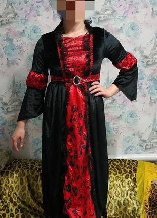 Шикарное платье вампирши,вампир, карнавальный костюм на хеллоу...