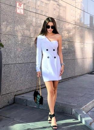 Платье-пиджак с 1 рукавом {ассиметричное}
