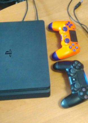 PlayStation 4 slim 500, 2 dualshock, 100 игр, PS+, PS4  приставка