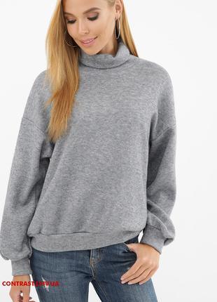 Брендовий жіночий джемпер плотна ангора сірий XL