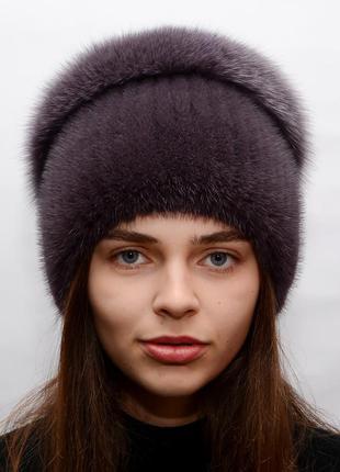 Женская шапка из вязаной норки