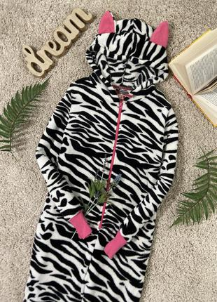 Флисовая кигуруми пижама слип человечек зебра #29