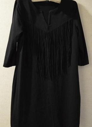 Платье стильное черное  с бахромой размер m-l