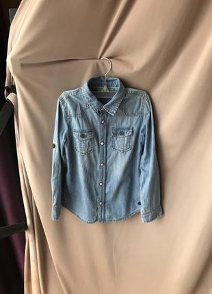 Детская джинсовая рубашка jbc разм 116 на мальчика сорочка рубаха