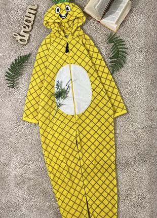 Флисовая кигуруми пижама слип человечек ананас №33