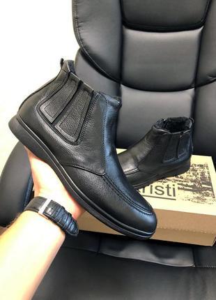 Зимние  мужские ботинки , нат. кожа