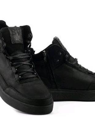 Мужские ботинки кожаные зимние черные Belvas 20141