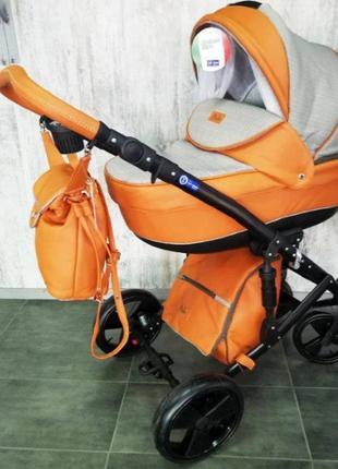 Детская универсальная коляска  2 В 1 POLO ОРАНЖЕВАЯ