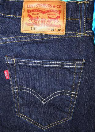 Джинсы levis 511 w29 l32 оригинал синие 510 slim fit б у w30 w...