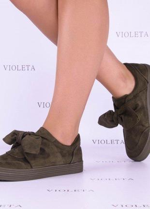 -50 % осенние слипоны кроссовки туфли ботинки с бантами хаки э...