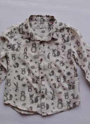 Zara. рубашка с длинным рукавом. 92 - 98 размер.