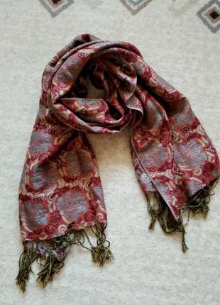 Пашмина-шёлк  шарф-палантин с кистями и люрексом