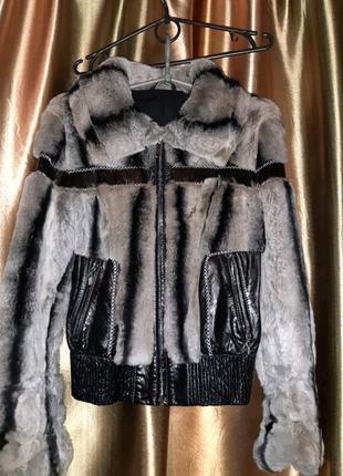 Куртка шубка Шиншиловый кролик кожа все натуральное