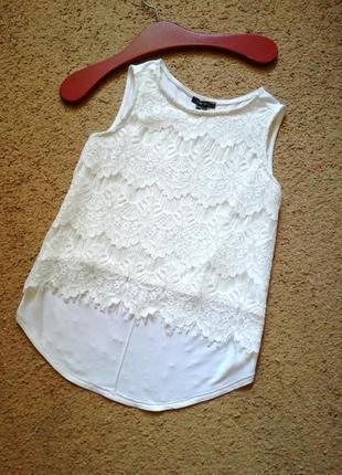 Белый кружевной топ майка блузка французское кружево размер 34...