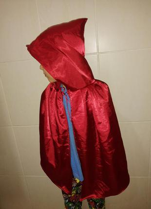Карнавальная накидка с капюшоном красная шапочка