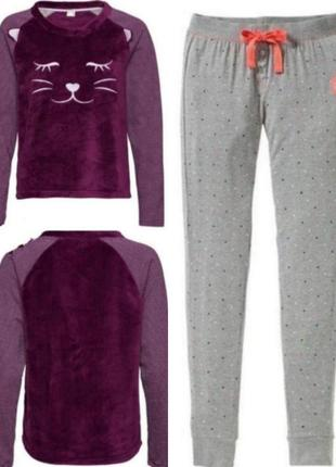 Теплая женская пижама свитшот и брюки esmara m