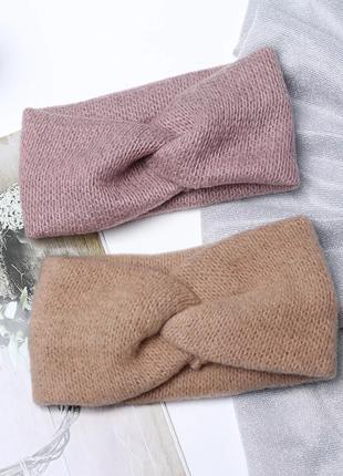 Теплая повязка на голову женская-детская, 4 цвета, новая