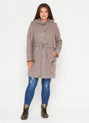Фабричное пальто belanti 901 большие размеры цвет пудра