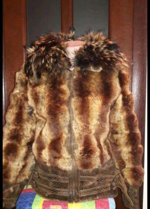 Куртка шубка Шиншиловый кролик крашеный+енот