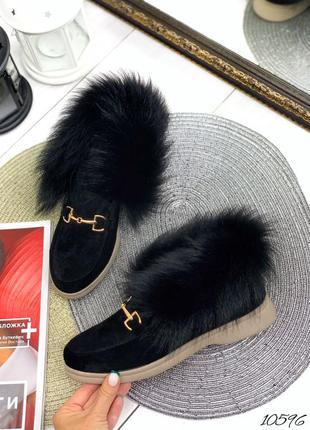 Женские зимние чёрные кожаные замшевые лоферы