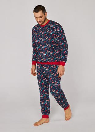Мужская  пижама ellen 059/001 с новогодним принтом