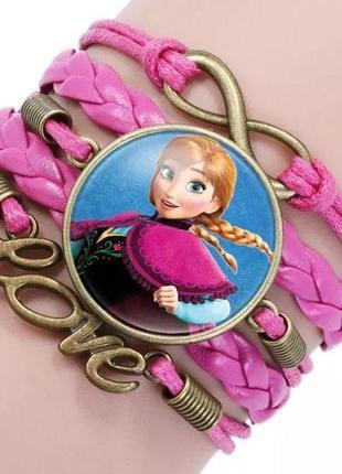 Плетеный браслет холодное сердце (розовый)