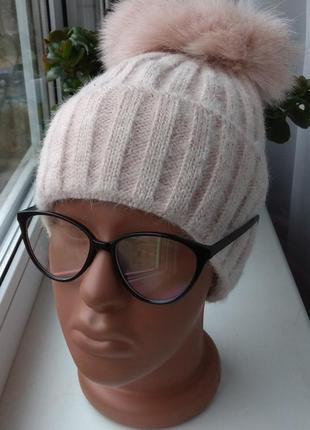 Новая ангоровая шапка (на флисе) с натуральным бубоном бублик,...