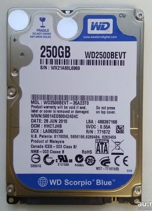 Жесткий диск Western Digital Scorpio Blue WD2500BEVT 250 Гб SATA