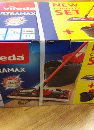 Набор для уборки швабра+ведро VILEDA UltraMax с отжимом Италия