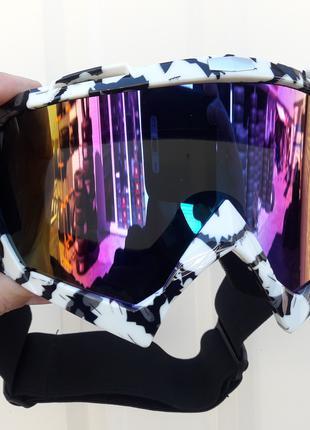 Очки лыжные Эндуро ATV чёрно белые