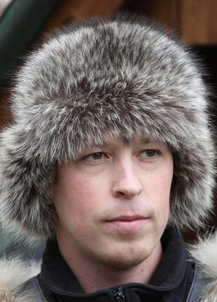 Бронь шапка-ушанка мужская. натуральный мех чернобурка, натура...