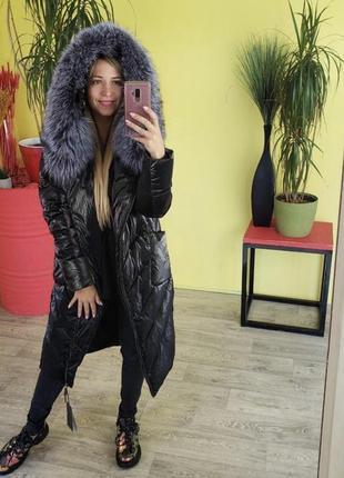Зимние тёплые пальто пуховики с мехом чернобурки
