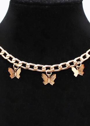 Женская цепочка с бабочками, металлический чокер золотой с под...