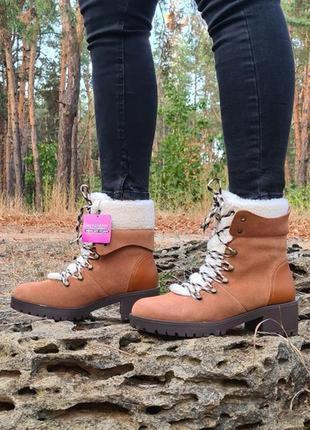 Ботинки skechers trail troop оригинал натуральная кожа, мех