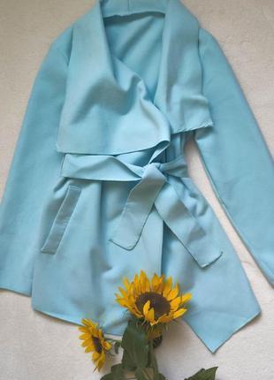 Голубое пальтишко, плащ на запах, размер s-m