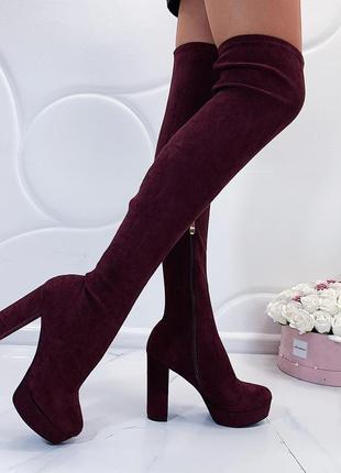 Бордовые замшевые сапоги ботфорты на каблуке,высокие сапоги-чу...