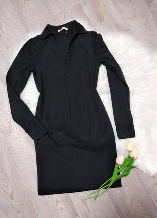 Женское короткое деловое платье с воротником длинным рукавом о...