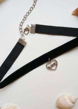 Чокер бархатный черный, с подвеской сердце, love, велюровый, ч...