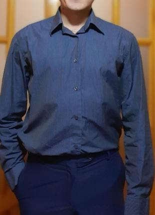 Синяя мужская рубашка в белую полоску next размер м (40-48)
