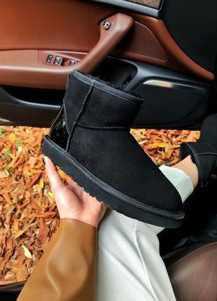 Зимние сапоги ugg classic mini black metallic женские в черном...