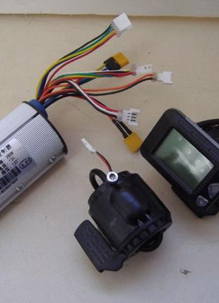 Контроллер 24v 250w 12a с дисплеем +газ +тормоз на электросамокат