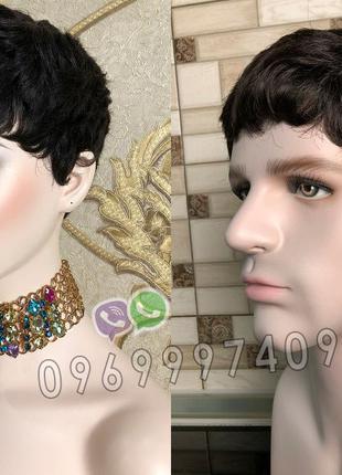 Короткий женский/мужской парик из натуральных волос чёрный кор...