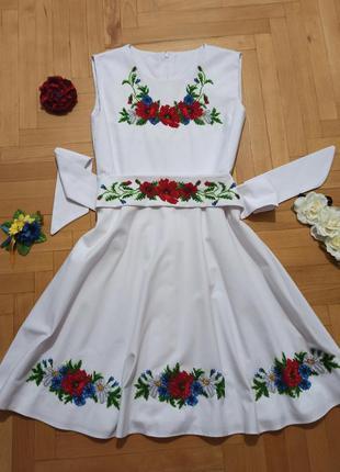 Платье ручной работы , маки  и ромашки, бисер