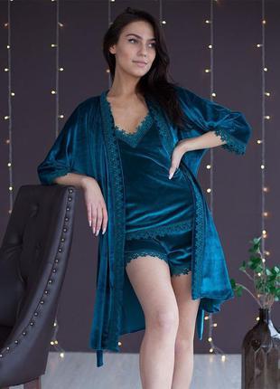 Mito бархат бархатная женская домашняя одежда комплект халат и...