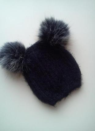 Черная вязаная шапочка с помпонами от primark