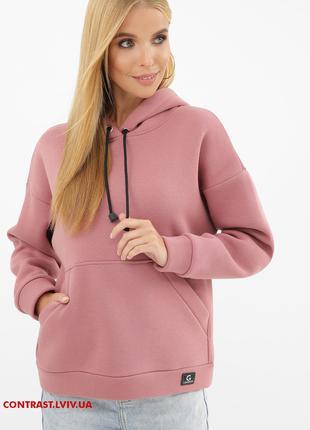 Стильний жіночий світшот утеплений з капюшоном XL