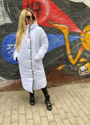 Двустороннее пальто - пуховик, длинный пуховик, зимнее пальто,...