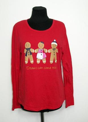 Красный зимний  лонгслив кофта с пряничными человечками из хлопка