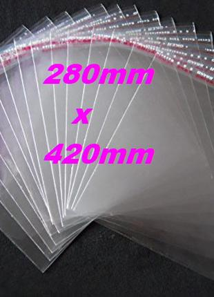 Пакет упаковочный для одежды 28х42см с липкой лентой.