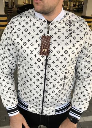 Supreme x Louis Vuitton Jacquard Monogram White Bomber
